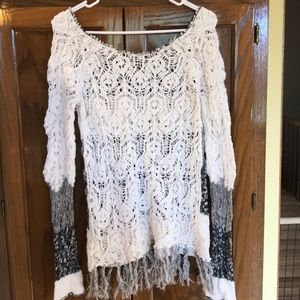 BKE Sweaters - Loose knit sweater with fringe edges